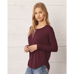 Bella+Canvas® Ladies' Flowy T-Shirt with 2x1 Rib Long Sleeves