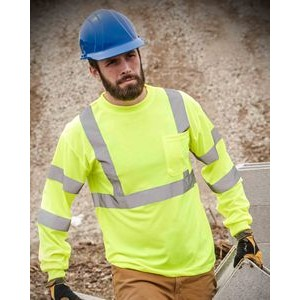 Hi-Viz ANSI Class 3 Long Sleeve Safety T-Shirt (Safety Green)